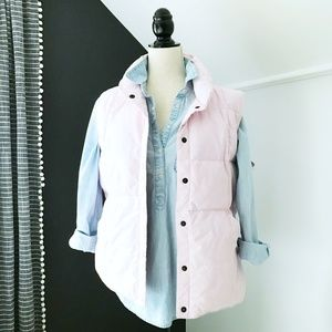 Lands End Womens Pale Pink Down Puffer Vest Medium